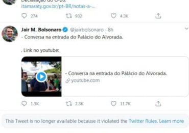 Twitter apaga publicações de Bolsonaro em aglomerações